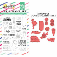 Echo Park - Best Summer Ever Collection - Designer Die and Clear Photopolymer Stamp Set - Say Hello To Summer