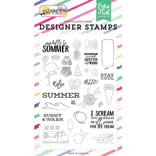 Echo Park - Best Summer Ever Collection - Clear Photopolymer Stamps - Say Hello To Summer