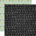 Echo Park - Back to School Collection - 12 x 12 Double Sided Paper - Chalkboard Cursive