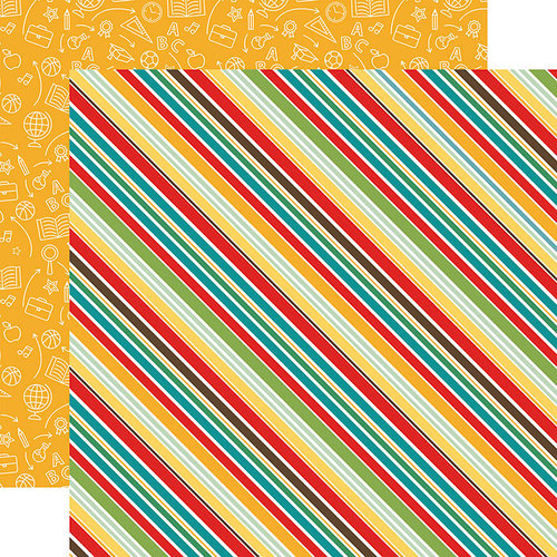 Echo Park - Back to School Collection - 12 x 12 Double Sided Paper - School Stripes