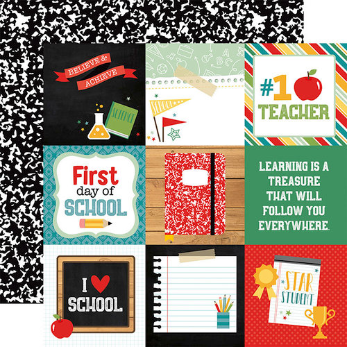 Echo Park - Back to School Collection - 12 x 12 Double Sided Paper - 4 x 4 Journaling Cards