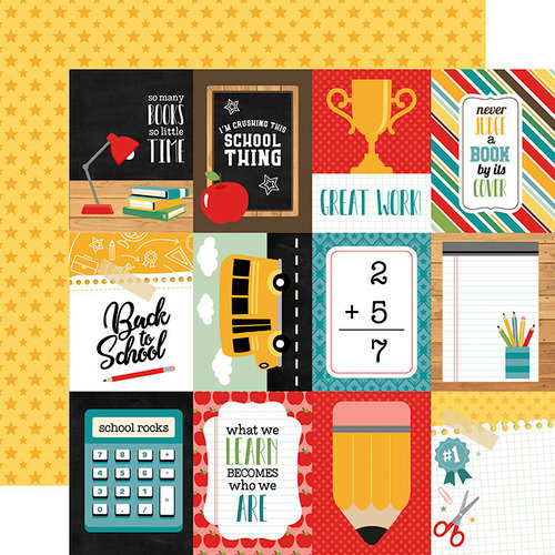 Echo Park - Back to School Collection - 12 x 12 Double Sided Paper - 3 x 4 Journaling Cards