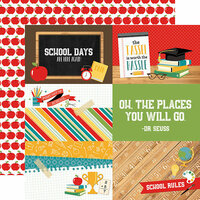 Echo Park - Back to School Collection - 12 x 12 Double Sided Paper - 4 x 6 Journaling Cards