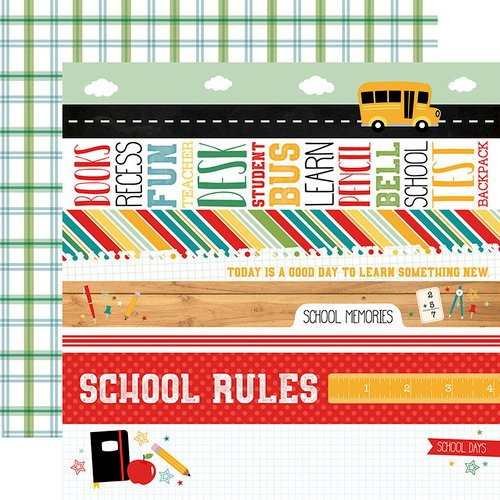 Echo Park - Back to School Collection - 12 x 12 Double Sided Paper - Border Strips