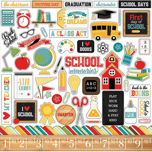 Echo Park - Back to School Collection - 12 x 12 Cardstock Stickers - Elements
