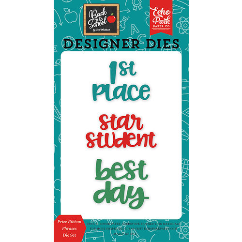 Echo Park - Back to School Collection - Designer Dies - Prize Ribbon Phrases