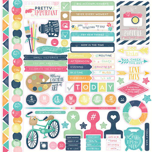Echo Park - Creative Agenda Collection - 12 x 12 Cardstock Stickers - Elements
