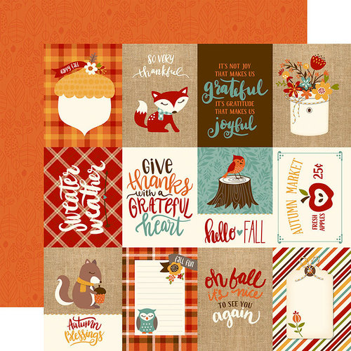 Echo Park - Celebrate Autumn Collection - 12 x 12 Double Sided Paper - 3 x 4 Journaling Cards