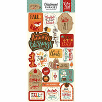 Echo Park - Celebrate Autumn Collection - Chipboard Stickers - Phrases