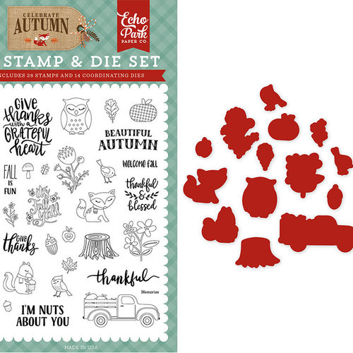 Echo Park - Celebrate Autumn Collection - Designer Die and Clear Acrylic Stamp Set - Nuts About You