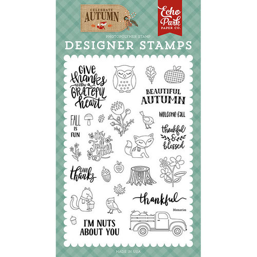 Echo Park - Celebrate Autumn Collection - Clear Photopolymer Stamps - Nuts About You