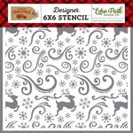 Echo Park - Celebrate Christmas Collection - 6 x 6 Stencil - Reindeer Swirl