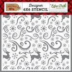 Echo Park - Celebrate Christmas Collection - 6 x 6 Stencil - Reindeer Swirl