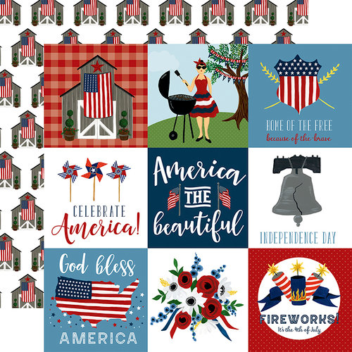 Echo Park - Celebrate America Collection - 12 x 12 Double Sided Paper - 4 x 4 Journaling Cards