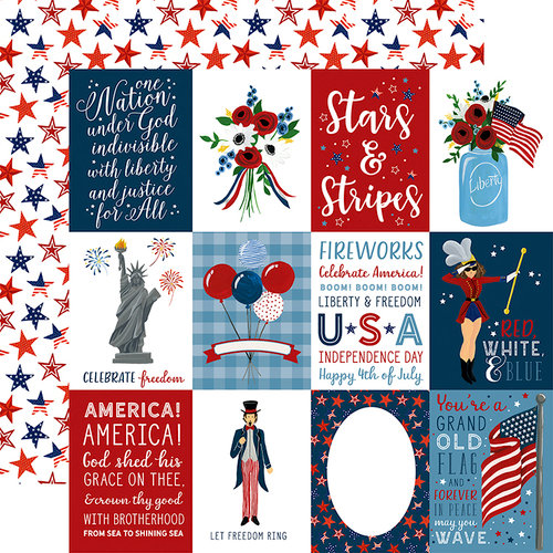 Echo Park - Celebrate America Collection - 12 x 12 Double Sided Paper - 3 x 4 Journaling Cards