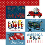 Echo Park - Celebrate America Collection - 12 x 12 Double Sided Paper - 4 x 6 Journaling Cards