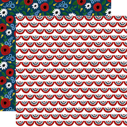 Echo Park - Celebrate America Collection - 12 x 12 Double Sided Paper - Patriotic Banners