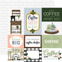Echo Park - Coffee and Friends Collection - 12 x 12 Double Sided Paper - Journaling Cards