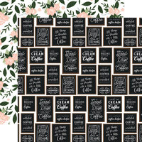 Echo Park - Coffee and Friends Collection - 12 x 12 Double Sided Paper - Coffee Shop Wall