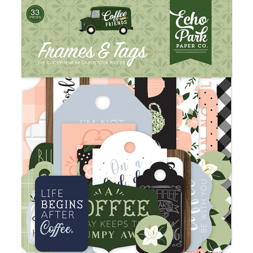 Echo Park - Coffee and Friends Collection - Ephemera - Frames and Tags