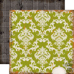 Echo Park - Chillingsworth Manor Collection - Halloween - 12 x 12 Double Sided Paper - Green Damask
