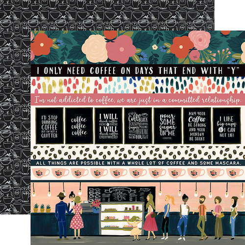 Echo Park - Coffee Collection - 12 x 12 Double Sided Paper - Border Strips