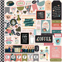 Echo Park - Coffee Collection - 12 x 12 Cardstock Stickers - Elements