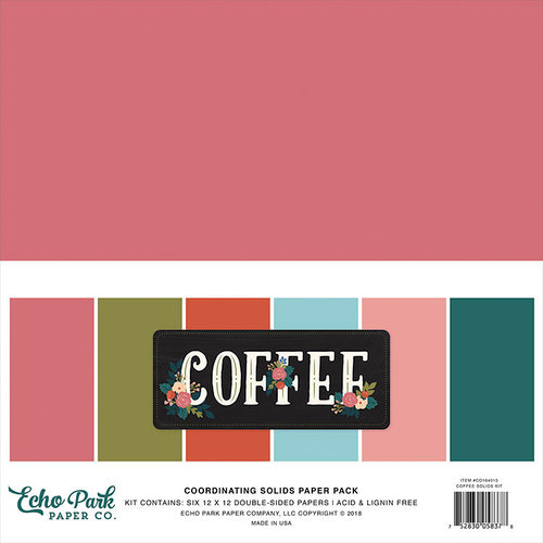 "12x12/"" d//sided scrapbooking paper Coffee Echo Park 3x3 JOURNALING CARDS"