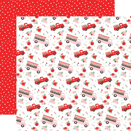 Echo Park - Cupid and Co. Collection - 12 x 12 Double Sided Paper - Flower Trucks
