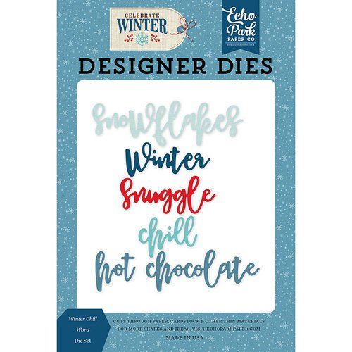 Echo Park - Celebrate Winter Collection - Designer Dies - Winter Chill Word