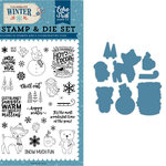 Echo Park - Celebrate Winter Collection - Designer Die and Clear Acrylic Stamp Set - Happy Winter