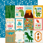 Echo Park - Dino Friends Collection - 12 x 12 Double Sided Paper - 3 x 4 Journaling Cards