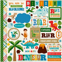 Echo Park - Dino Friends Collection - 12 x 12 Cardstock Stickers - Elements