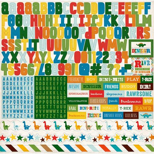 Echo Park - Dino Friends Collection - 12 x 12 Cardstock Stickers - Alphabet