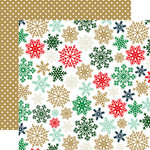 Echo Park - Deck the Halls Collection - Christmas - 12 x 12 Double Sided Paper with Foil Accents - Glimmering Snowflakes