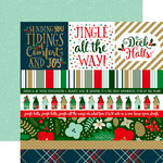 Echo Park - Deck the Halls Collection - Christmas - 12 x 12 Double Sided Paper with Foil Accents - Border Strips