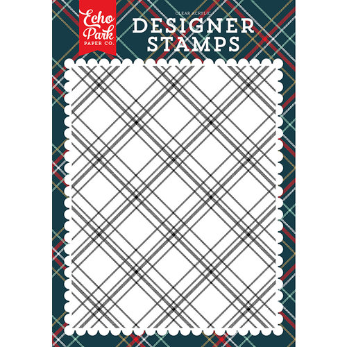 Echo Park - Deck the Halls Collection - Christmas - Clear Acrylic Stamps - Christmas Plaid A2 Background