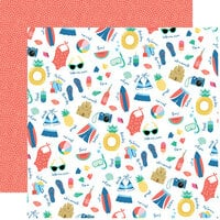 Echo Park - Dive Into Summer Collection - 12 x 12 Double Sided Paper - Pool Time