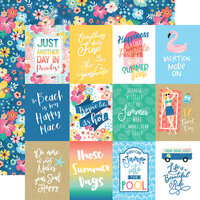 Echo Park - Dive Into Summer Collection - 12 x 12 Double Sided Paper - 3 x 4 Journaling Cards