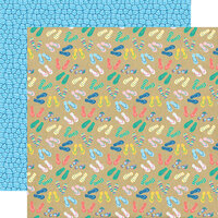 Echo Park - Dive Into Summer Collection - 12 x 12 Double Sided Paper - Summer Shoes