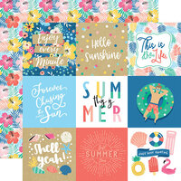 Echo Park - Dive Into Summer Collection - 12 x 12 Double Sided Paper - 4 x 4 Journaling Cards