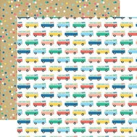 Echo Park - Dive Into Summer Collection - 12 x 12 Double Sided Paper - Adventure Bus