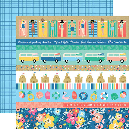 Echo Park - Dive Into Summer Collection - 12 x 12 Double Sided Paper - Border Strips