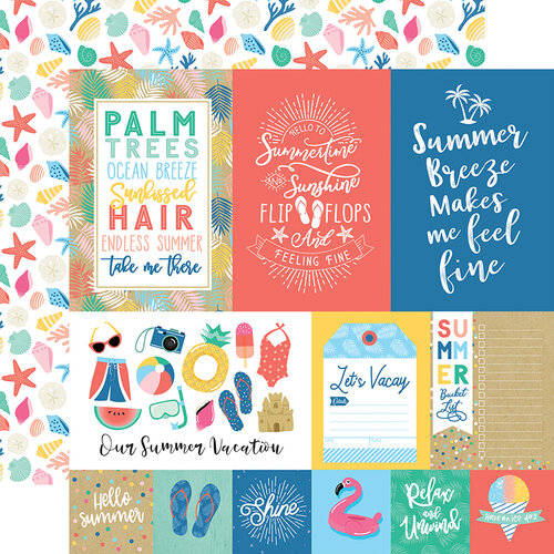 Echo Park - Dive Into Summer Collection - 12 x 12 Double Sided Paper - Multi Journaling Cards