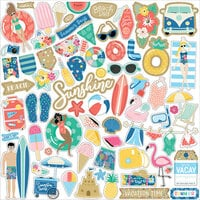 Echo Park - Dive Into Summer Collection - 12 x 12 Cardstock Stickers - Element