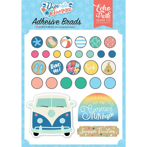 Echo Park - Dive Into Summer Collection - Self Adhesive Decorative Brads