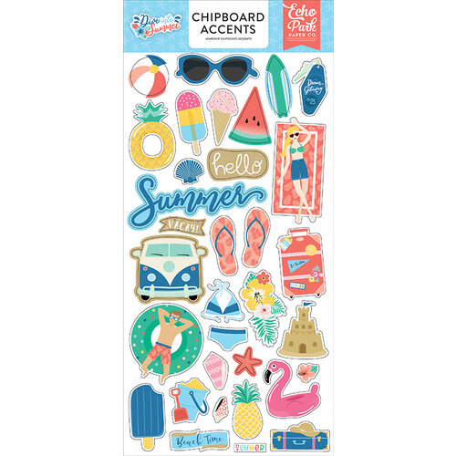 Echo Park - Dive Into Summer Collection - Chipboard Stickers - Accents
