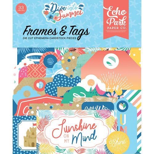 Echo Park - Dive Into Summer Collection - Ephemera - Frames and Tags