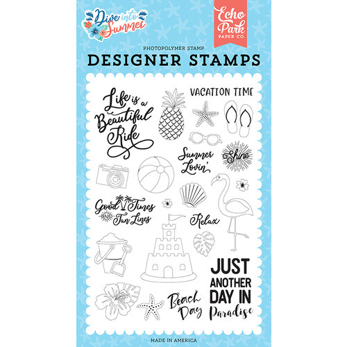 Echo Park - Dive Into Summer Collection - Clear Photopolymer Stamps - Paradise