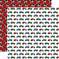 Echo Park - Down on the Farm Collection - 12 x 12 Double Sided Paper - Farm Trucks